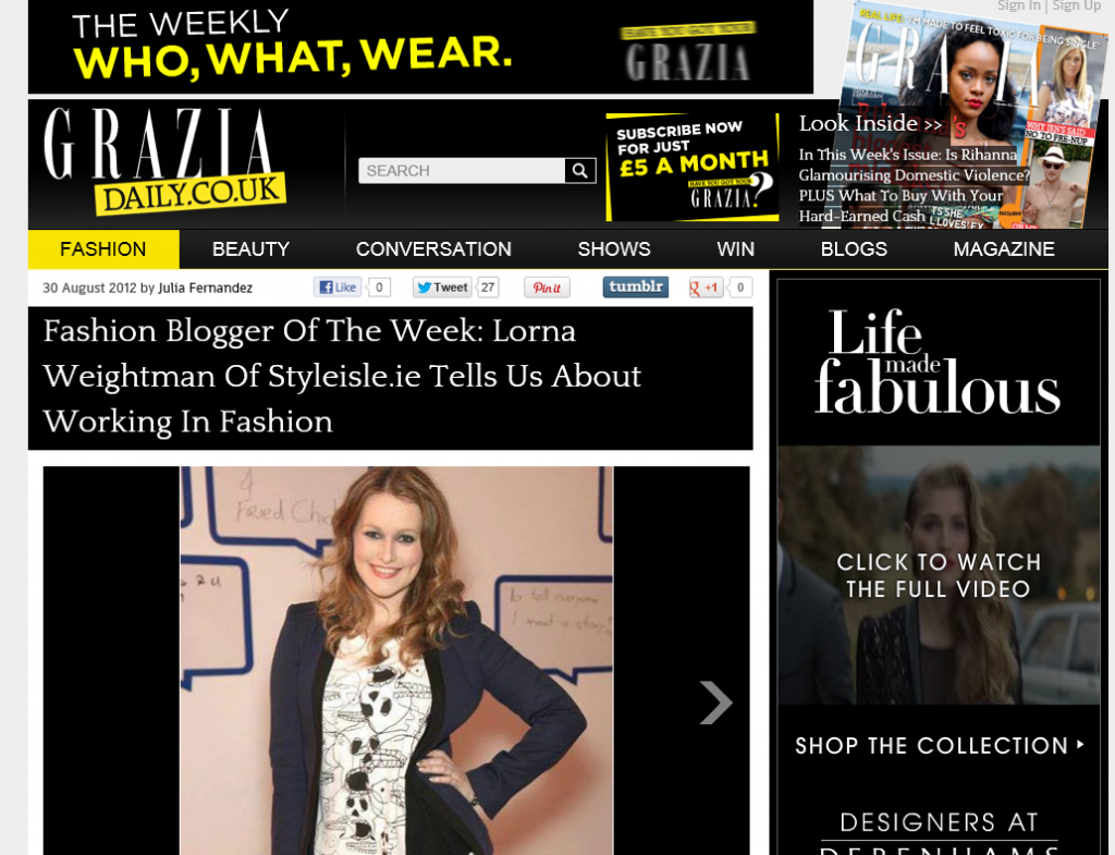 Lorna Weightman Grazia Blogger of the Week
