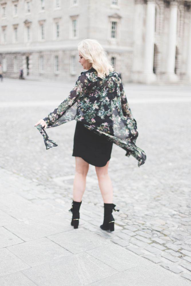 black slip dress