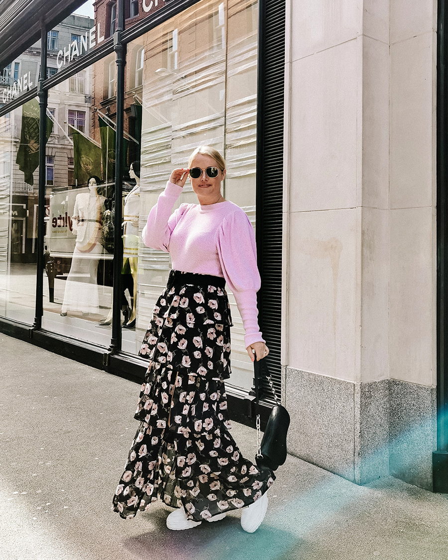 Lorna Weightman wearing Boohoo Floral skirt an ASOS sweater with Primark bag and shoes