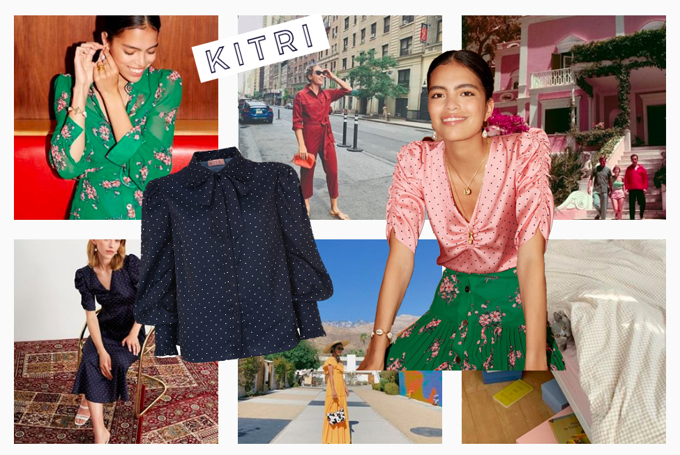 KITRI collage of looks from Instagram feed as well as two images one of a navy and white polka dot blouse and an image of a model wearing a pink and white polka dot blouse with floral skirt