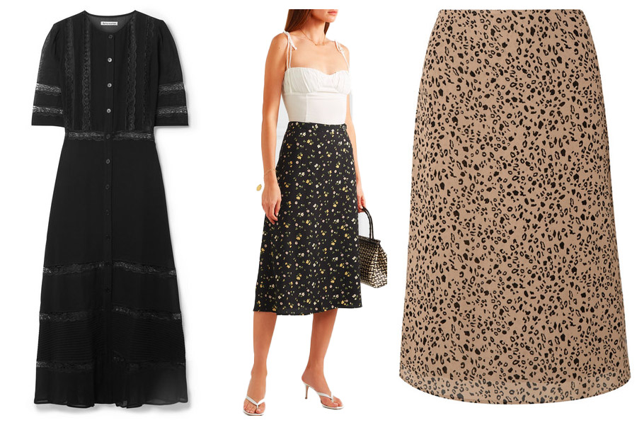 Reformation black midi dress, white vest top styled with floral midi skirt on model holding a small tote bag. To the right animal print midi skirt