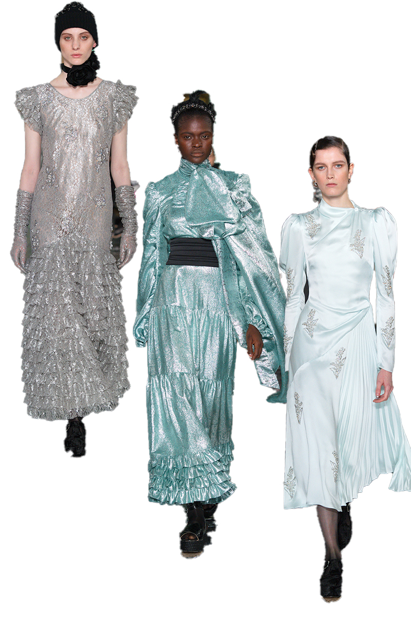 three models wearing Erdem Autumn Winter 2020
