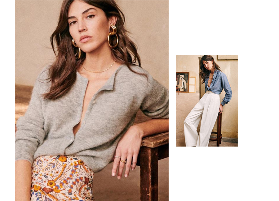 Model images wearing knitwear with trousers and skirt.