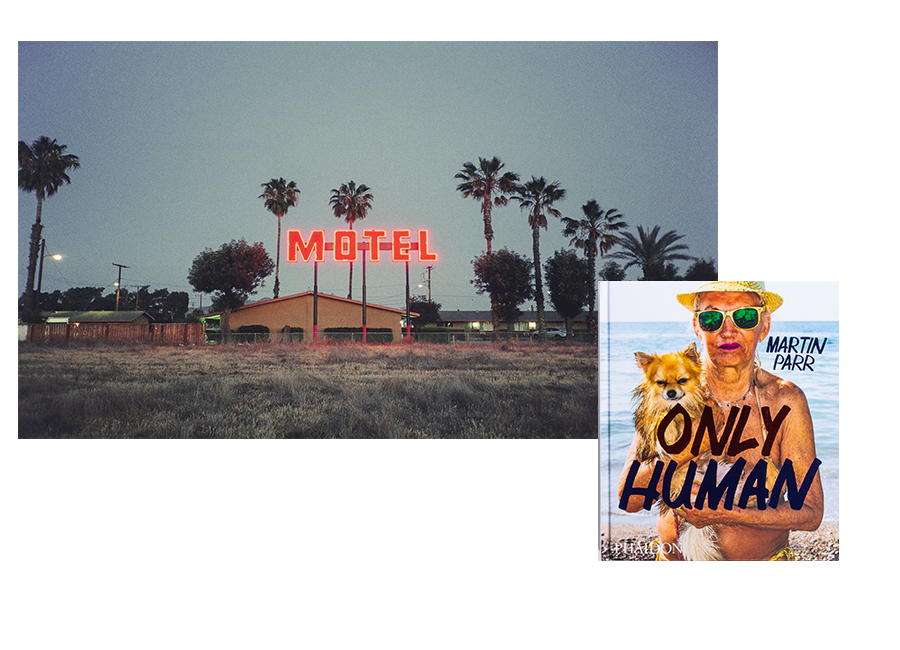 Image of motel art by Carly Palmour and book by martin parr