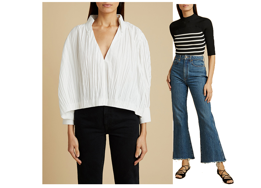 Model images featuring two images. One with a white shirt and black trousers the second with a stripe top and flared blue denim jeans