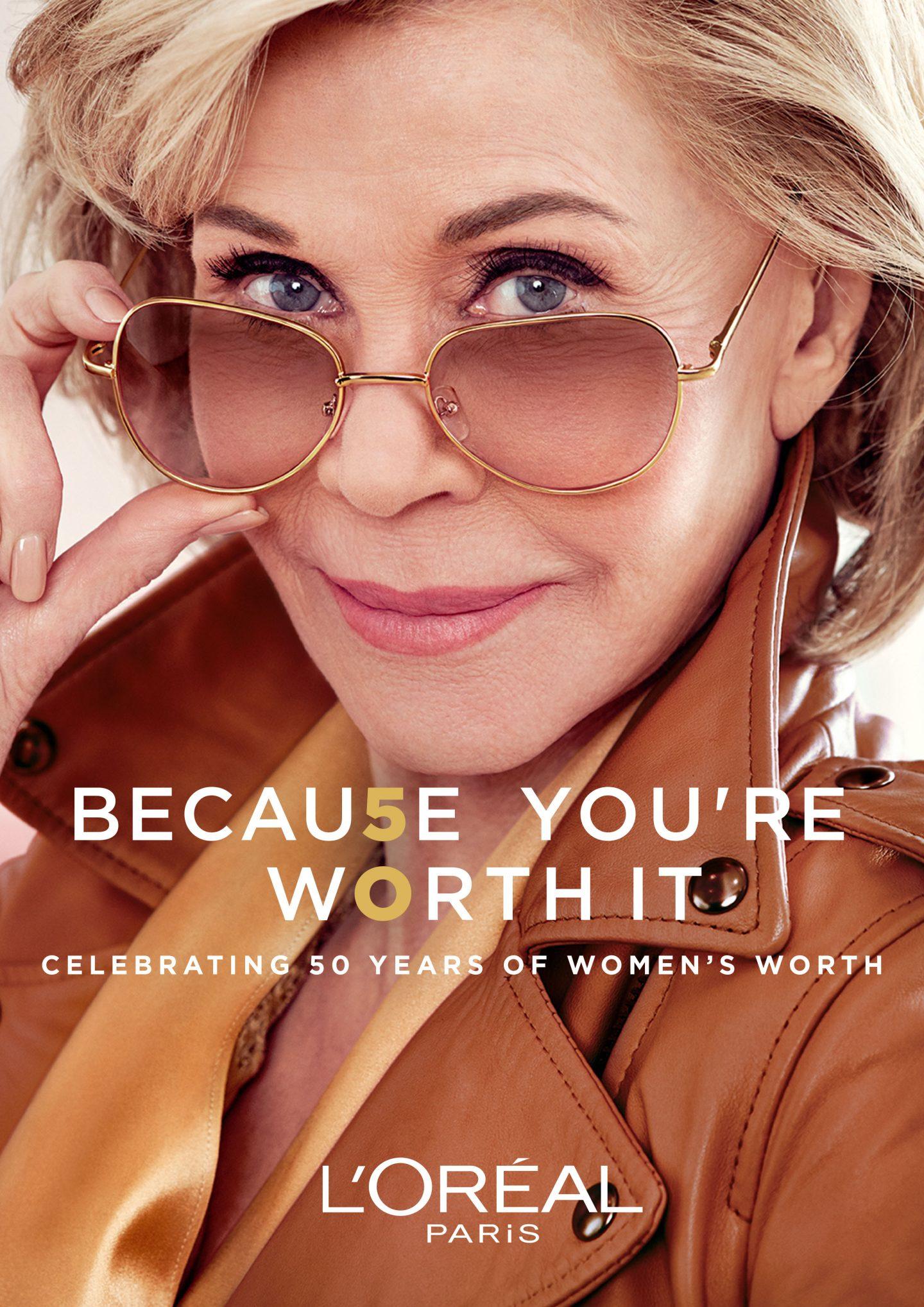Jane Fonda wearing sunglasses and a light brown coat in a L'Oreal Paris advert