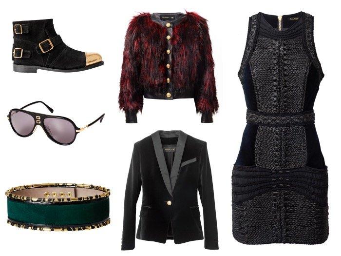 From top left: Boots, €179.99; Red faux fur jacket, €99.99; Black dress, €199.99; Velvet blazer, €149.99; Belt, €79.99; Sunglasses, €39.99